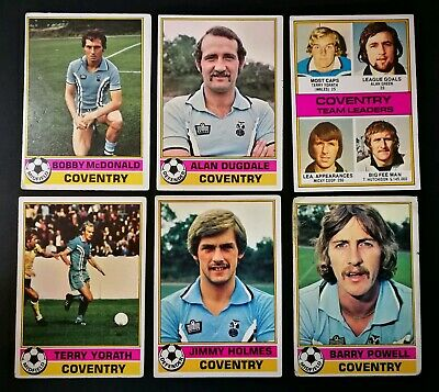 1977/78 Topps Chewing Gum Cards (Red) - Coventry City Complete Set (x6 Cards)