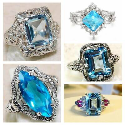 925 Silver Rings Aquamarine Flower Drop Rings Gemstone Women Men Jewelry Sz#6-10