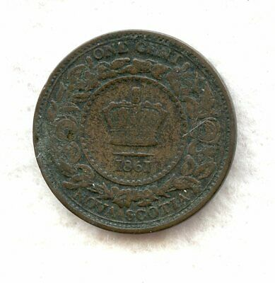 Canada  ~ Nova Scotia ~ 1861 ~ Large Cent ~ F