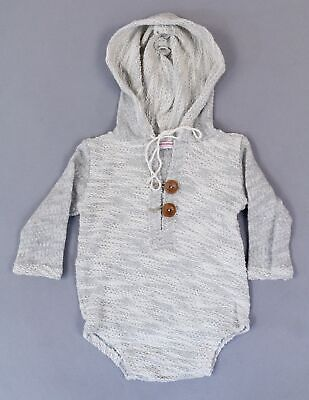 Little Pink Elephant Photo Props Girl L/S Knit Hooded One Piece AN3 Gray Size OS