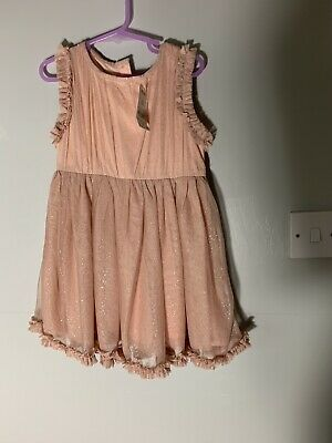 BNWT 2-3  Girls Next Dress Peach Pale Pink Lace Sparkly Christmas Party Dress