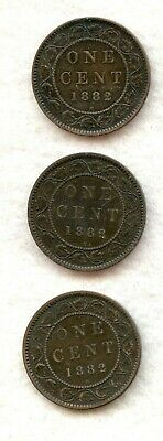 Canada  ~ 1882 H ~ Large Cent Lot ~ Vf ~ 3 Coins