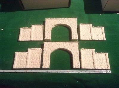 2x tunnel & 4 walls -n scale gauge-rough stone-Unpainted,Twin Track stepped type