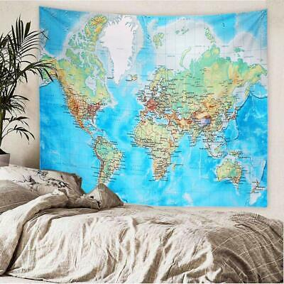 "Tapestry World Map Colorful Roads Major Cities Geography 59"" x  51"" Wall Hanging"