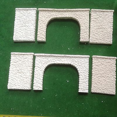 2x twin track tunnel  & 4 walls  -n scale -Pebble stone style- Unpainted Set-