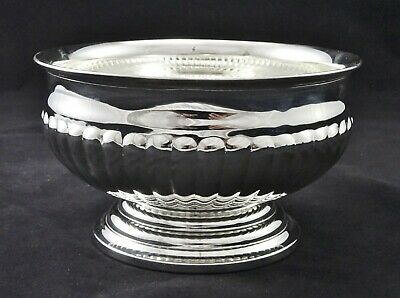 English Viners Medium Bowl Half Fluted Embossed Flower Display Silver Plated