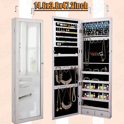 Jewelry Armoire Organizer Wall Mounted Lockable LED Cabinet w/ Mirror & 2 Drawer