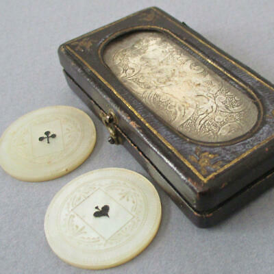 Antique CHINESE Hand Carved MOP Mother of Pearl Gaming TOKENS w Orig LEATHER Box