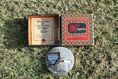 Vintage KRISS KROSS STROPPER  Razor Blade Sharpener IN Original Box Paperwork