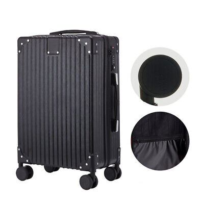 New 24'' Travel Spinner Luggage Set Bag ABS Trolley Carry On Suitcase Black