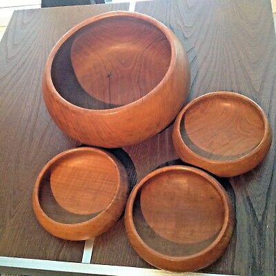 1960'S Teak Style Salad  Fruit Bowl And Three Smaller Type Side Bowls