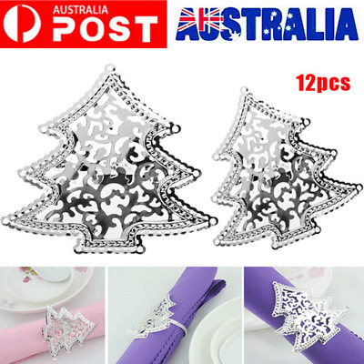 12pcs Xmas Party Table Napkin Holders Christmas Tree Hollow Rings Buckle Silver