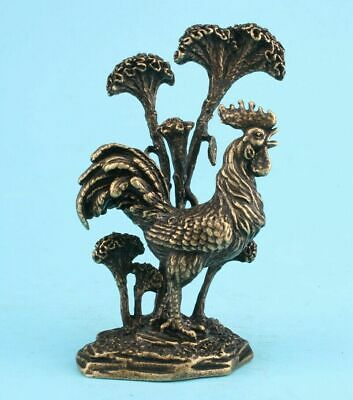 Unique China Bronze Statue Figurine Rooster Ganoderma Solid Mascot Old
