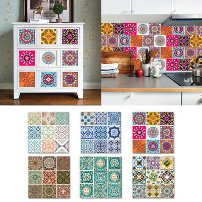 Self-Adhesive Moroccan Tile Transfers Stickers Wall Kitchen Home Retro 10pc/Pack
