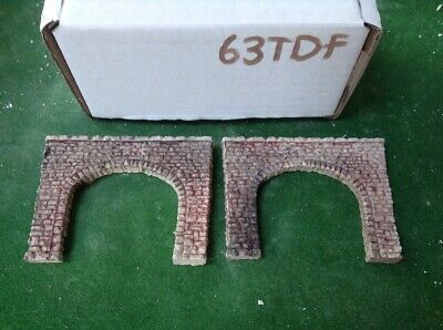N Scale Tunnel portals X 2 -Twin Track -Rough Stone Style, Pre Painted 63TDF