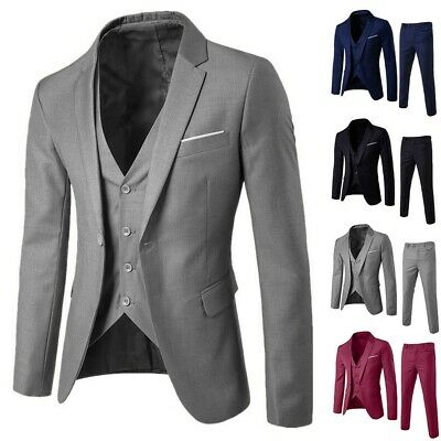 Business Men 3PCS Suit Plus Wedding Party Slim Suit Blazer Jacket Vest&Pant KA