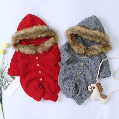 Baby Hooded Fur Collar Knitted Jumpsuit Warm Romper Soft Bodysuit Clothes Outfit