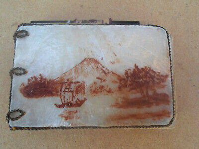 Vintage Japanese Mother of Pearl Covered Small Note Book Mount Fukushima etc