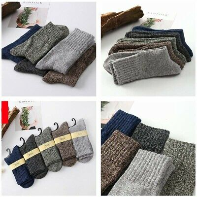 Solid Soft Sports Casual Men Warm New Cashmere Socks 5 Pairs Winter Thick Wool