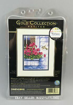 Dimensions The Gold Collection Petites Cross Stitch Kit~Flowers & Hummingbird