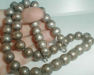 "vintage 10MM SILVER BEAD on chain 19"" NECKLACE add a bead southwest style NR"
