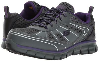 Skechers Women's Synergy Work Shoes Alloy Toe Charcoal/Purple 77207W Size 7 Wide