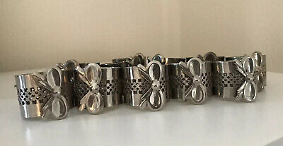 Vintage Set Of 11 Silver Plate Napkin Rings Bow Detail