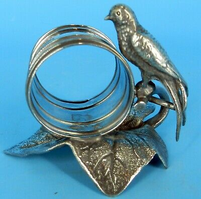 Antique Meriden #202 Silverplate Figural Bird Napkin Ring On Leaf Roger Smith Co