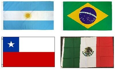3x5 Argentina, Brazil, Chile And Mexico Latin America Banners Poly Flag Set Of 4