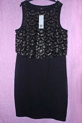 Ladies black evening dress,size 16,F&F formal dress,below the knee,new & tags