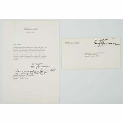Harry S. Truman 1964 Typed Letter Signed - To His Former Under Secretary of Navy