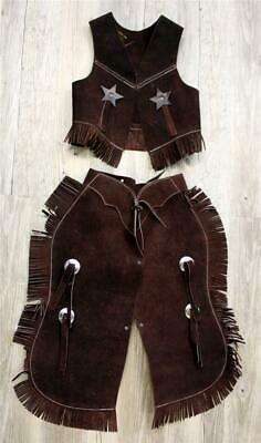 BROWN Suede Leather Halloween costume Western Cowboy Kids Youth Chaps Sm or Lg