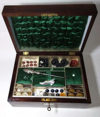 Antique Victorian Inlaid Wooden Sewing or jewellery box with contents, buttons