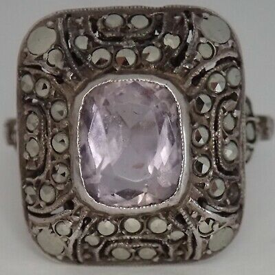 Antique French Art Deco Sterling Silver Genuine Amethyst Marcasite Ring