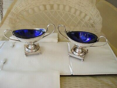 Israel Freeman & Sons Silver Plate and Cobalt Liner Salts -2