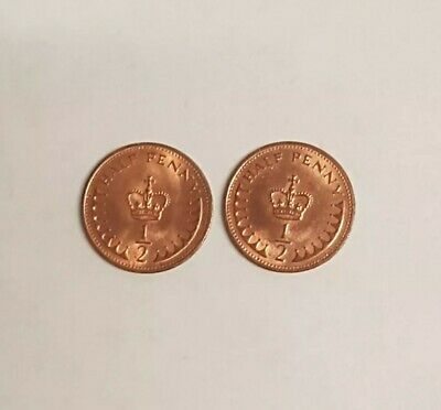 X2 UK Half Penny Coins 1983