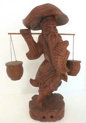 Vintage Carved Teak Wood Old Man Carrying Water Buckets Figurine 12.5""