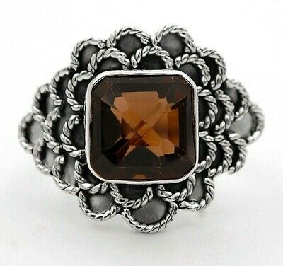 5CT Smoky Topaz 925 Solid Genuine Sterling Silver Ring Jewelry Sz 7.75 1D1-4