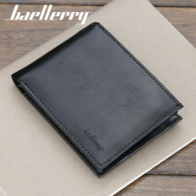 Men's PU Leather Black Bifold Purse Credit Card ID Holder Checkbook Slim Wallet