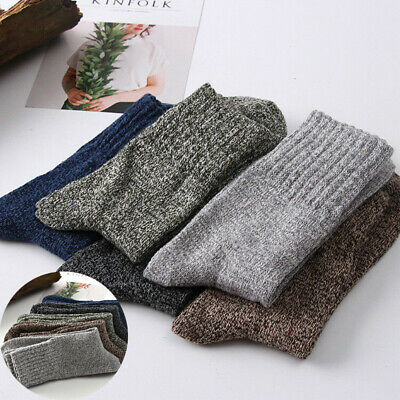 Men 5 Pairs Wool Socks Cashmere Warm Winter Solid Soft Thick New Sports Casual