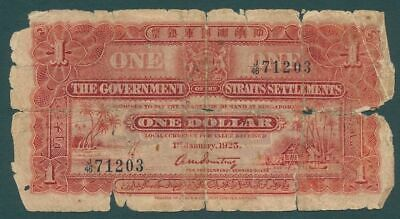 Straits Settlements 1925 KGV 1 Dollar P-9a Fair condition with damage