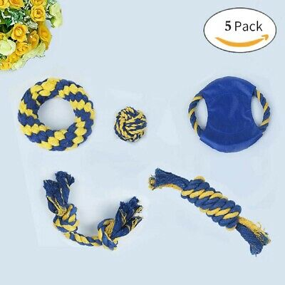 5P Dog Puppy Toy Rope Frisbee Bundle And Teeth Cleaning Cotton Rope Toys