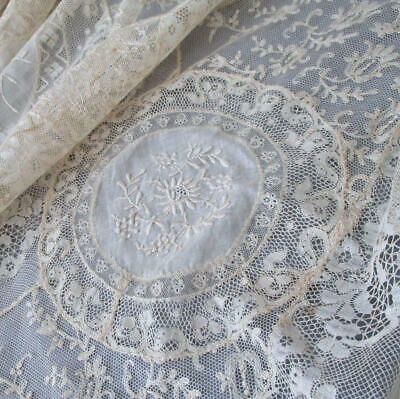 """Antique Ecru French NORMANDY LACE Bed Cover 100"""" X 69"""" * Embroidered FLOWERS"""
