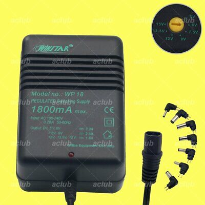 1.8A Multi-Voltage 5V-6V-7.5V-9V-12V-13.5V-15V AC/DC Switching Power Supply WP18