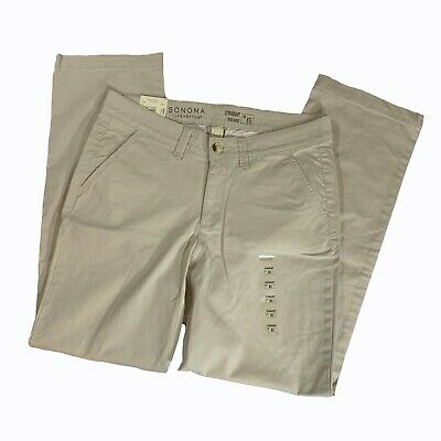 Sonoma Life + Style Misses Khakis, Straight Mid Rise, Oatmeal, 8S, Nwt