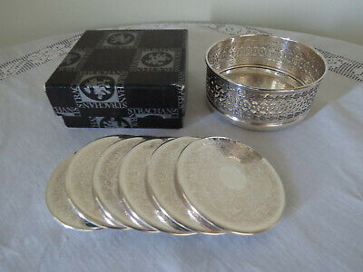 Boxed Strachan Silver Plated Bottle Coaster plus  6 matching Drink Coasters....