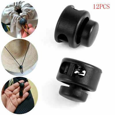 12Pcs Black Paracord Cord Lock Clamp 2 Hole Toggle Clip Stopper Tool Accessories