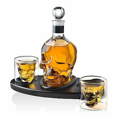 Whiskey Decanter Skull Set with 2 Cocktail Shot Glasses - for Liquor, Scotch,...