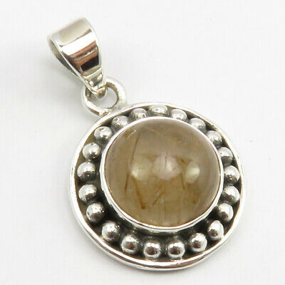 """Sterling Silver Golden Rutile Antique Look Pendant 1.2"""" Fashion Jewelry"""