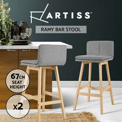 Artiss 2 x Kitchen Bar Stools Wooden Bar Stool Chairs Barstools Fabric Grey 67CM